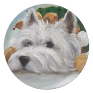 Westie West Highland Terrier Dog Christmas Plate