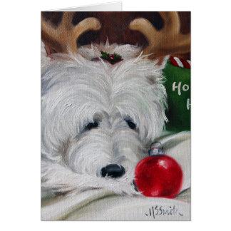 westie west highland terrier dog christmas santa card