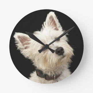 Westie (West Highland terrier) with collar Round Clock