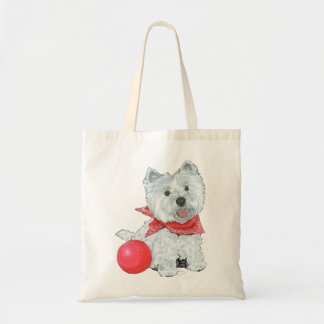 Westie with a Red Ball Tote Bag