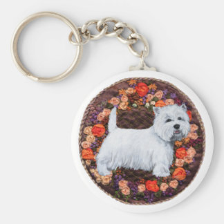 Westie With Autumn Flowers Key Ring