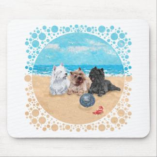 Westie with Cairn Terriers at the Beach Mouse Mat