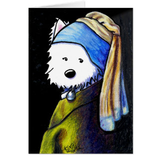 Westie with Pearl Earring Cards