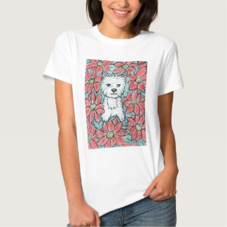 WESTIE with POINSETTIAS Christmas present Shirts