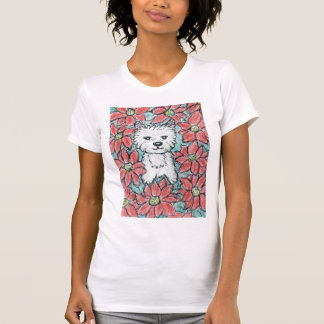 WESTIE with POINSETTIAS Christmas Present T-Shirt
