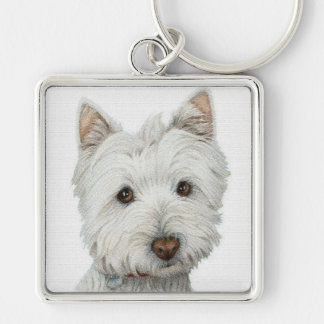 Westie with texture effect key ring