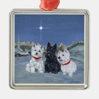 Westies and a Scottie Christmas Christmas Ornament