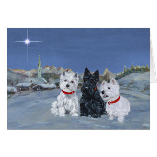 Westies and a Scottie Christmas Greeting Card
