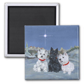 Westies and a Scottie Christmas Magnet