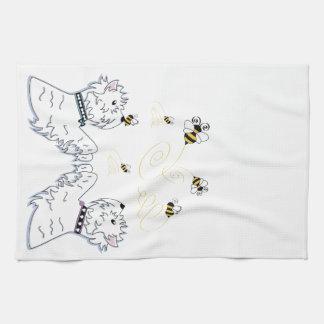 Westies and Bees Tea Towel