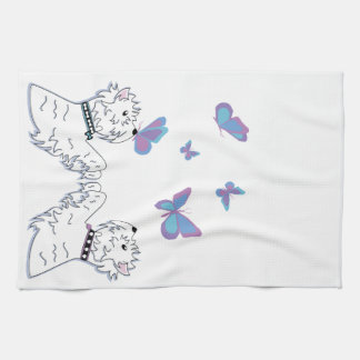 Westies and Butterflies Tea Towel