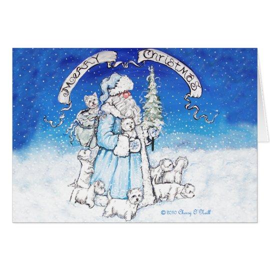 Westies and Santa Claus Card