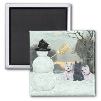 Westies and Scottie with Snowman Square Magnet