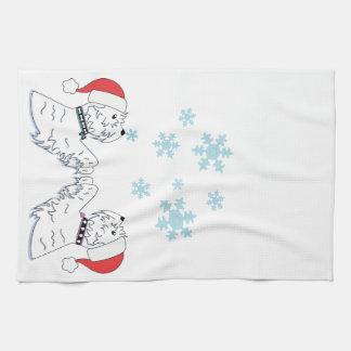 Westies and Snowflakes Tea Towel