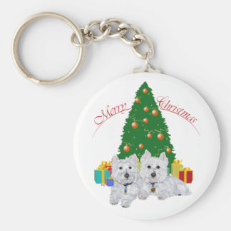 Westies by the Christmas Tree Basic Round Button Key Ring