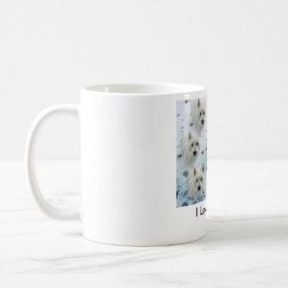 """Westies in Snow """"I Love Westies"""" CUTE Coffee Mug"""