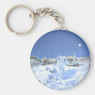 Westies in the Snow Basic Round Button Key Ring