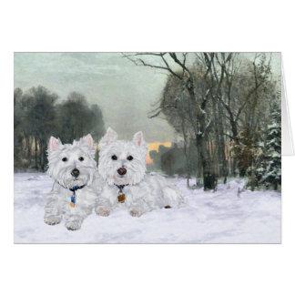 Westies in Wintertime Card