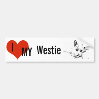 Westies Love,  black and white drawing Bumper Sticker