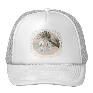 Westies on a Palmy Beach Mesh Hats