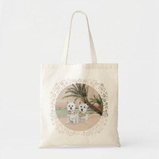 Westies on a Palmy Beach Canvas Bag
