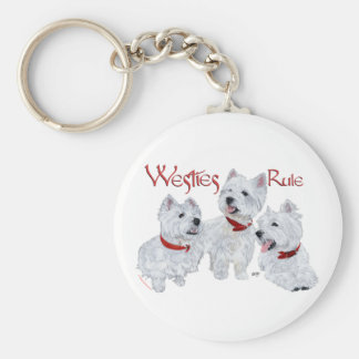 Westies Rule! Basic Round Button Key Ring