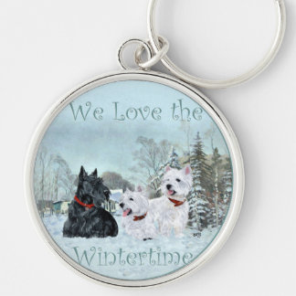 Westies & Scottie in Wintertime Silver-Colored Round Key Ring