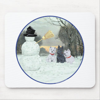 Westies & Scottie with Snowman Mouse Mat