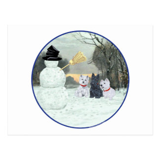 Westies & Scottie with Snowman Postcard