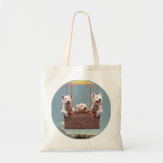 Westies Up in a Balloon Bag
