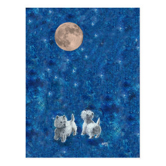 Westies Wishing on the Moon Postcard