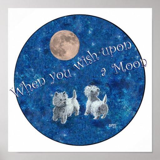 Westies Wishing on the Moon Print