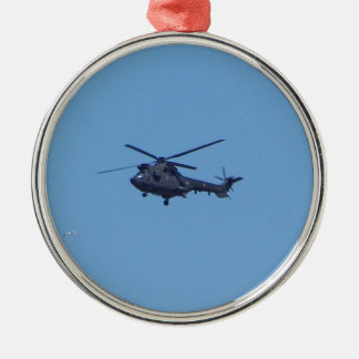 Westland Puma Military Helicopter Silver-Colored Round Decoration