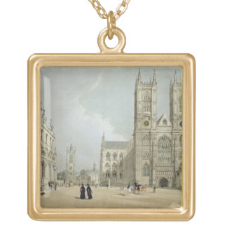 Westminster Abbey and Hospital, from 'London As It Gold Plated Necklace