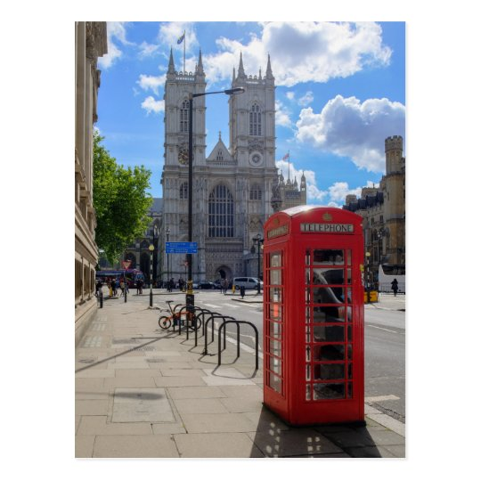 Westminster Abbey and Red Phone London UK Postcard