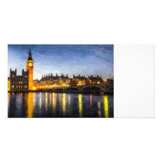Westminster Bridge and Big Ben Art Customized Photo Card