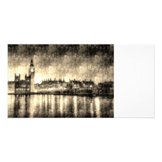Westminster Bridge and Big Ben Vintage Photo Card Template