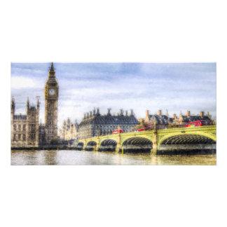 Westminster Bridge and London Buses Art Customised Photo Card