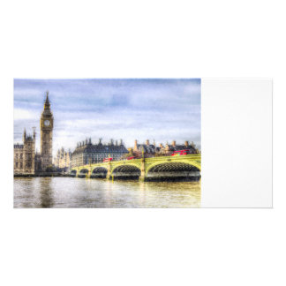Westminster Bridge and London Buses Art Photo Card