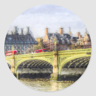 Westminster Bridge and London Buses Art Round Sticker