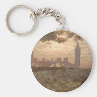 Westminster Bridge - Giuseppe de Nittis Basic Round Button Key Ring