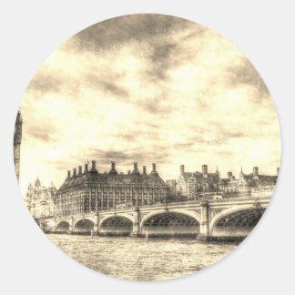 Westminster Bridge London Round Sticker