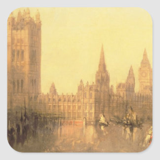 Westminster: Houses of Parliament, c.1860 (oil on Square Sticker
