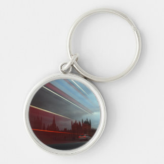 Westminster Palace London England with Red Bus Silver-Colored Round Key Ring