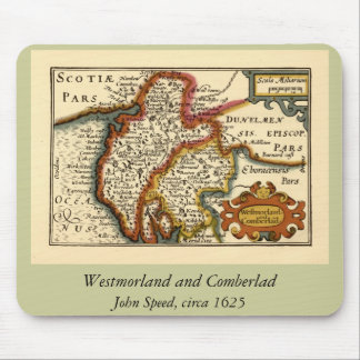 """Westmorland and Comberlad"" Old Cumbria County Map Mouse Mat"
