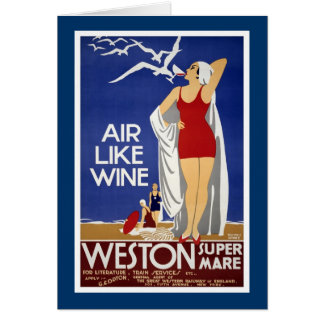 Weston-Super-Mare Vintage Travel Poster Greeting Card