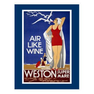 Weston-Super-Mare Vintage Travel Poster Postcard
