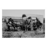 WESTWARD FAMILY IN COVERED WAGON c. 1886 Print