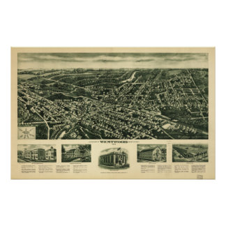 Westwood New Jersey 1924 Antique Panoramic Map Poster