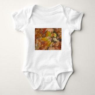 Wet autumn leaves baby bodysuit